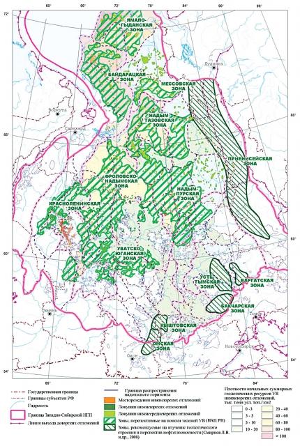 Карта перспектив нефтегазоносности нижнеюрского НГК