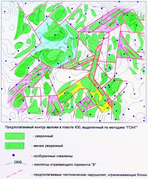 Рис.1. Карта перспективной нефтегазоносности отложений баженовской свиты (пласт Ю0) Салымско-Приразломной зоны.