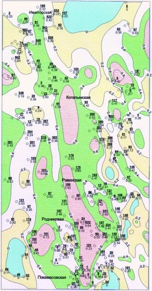 Рис.2. Карта песчанистости (доли проницаемых пород в общей мощности ачимовской толщи). Масштаб 1:1000000.