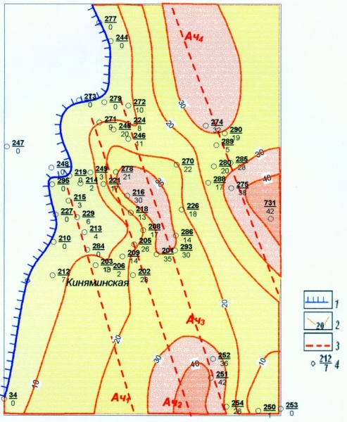 Рис.3. Карта эффективных мощностей ачимовских отложений клиноформы БВ8-9 на Киняминской площади. Масштаб 1:400000. Условные обозначения: 1 — линия глинизации ачимовских отложений; 2 — изолинии эффективных мощностей пласта; 3 — линии направления потоков; 4 — номер скважины/эф.мощность пласта.