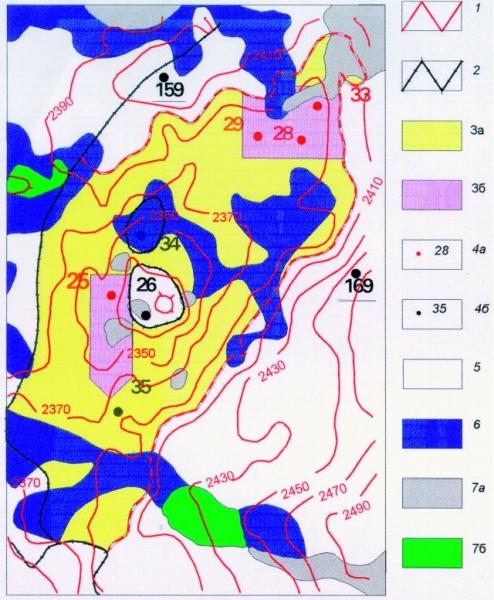 """Рис.1. Пример проверки временем регионального космофотонефтепрогнозирования (по одному из мини-проектов ГРР). 1-4 — Привлеченная информация (Вестник недропользователя, мини-проект, ЦРН, 1999), оценивающая дистанционный прогноз: структурная карта (1); линии литологического экранирования (2); контуры подсчетных категорий нефтеносного пласта (3.3а); скважины продуктивные (4а), """"пустые"""" и малодебитная (4б). Скважины 159, 169 пробурены до космодешифрирования. 5-7 — Результаты дистанционной оценки (А.Л.Клопов, 1995 г.): нефтеперспективные земли (5); земли бесперспективные с высоким и максимальным риском нефтепоиска (6); отказ от оценки из-за природных (озера, водотоки) помех (7а) и неуверенной интерпретации (7б)."""