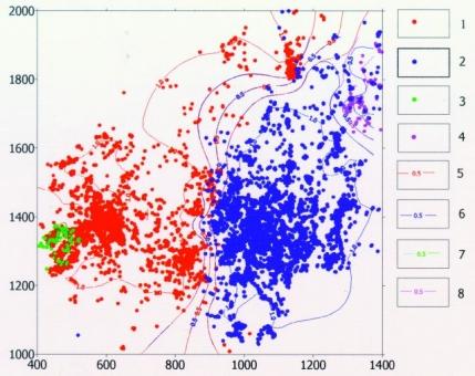 Рис.1. Карта частот поименования свит в скважинах по кровле кимериджских отложений центральной части Западно-Сибирской нефтегазоносной провинции. Условные обозначения: 1,2,3,4 — скважины, поименованные абалакской (1), васюганской (2), даниловской (3) и сиговской (4) свитами; 5,6,7,8 — изолинии частот употребления имен абалакской (5), васюганской (6), даниловской (7) и сиговской (8) свит.