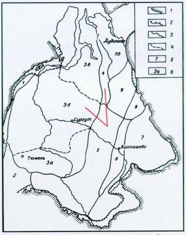 Рис.1. Схема районирования верхнемеловых отложений Западно-Сибирской равнины. 1 — обрамление; 2 — граница распространения верхнемеловых отложений; 3 — граница района; 4 — граница подрайона; 5 — район; 6 — подрайон. Районы и подрайоны: 1 — Полярное и Приполярное Зауралье; 2 — Северное, Среднее и Южное Зауралье; 3 — Ямало-Тюменский; 3а — Тюменско-Васюганский; 3б — Березово-Вартовский; 3в — Ямало-Уренгойский; 4 — Тазовский; 5 — Омско-Ларьякский; 6 — Колпашевский; 7 — Кулундино-Чулымо-Енисейский; 8 — Елогуйский; 9 — Туруханский; 10 — Усть-Енисейский.