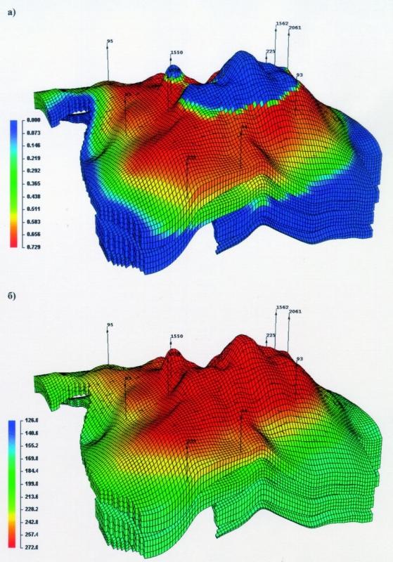 Рис.4. Общий вид гидродинамической сетки с указанием начальной нефтенасыщенности (а) и газосодержания пластовой нефти (м3/м3) (б). Пласт БВ13.