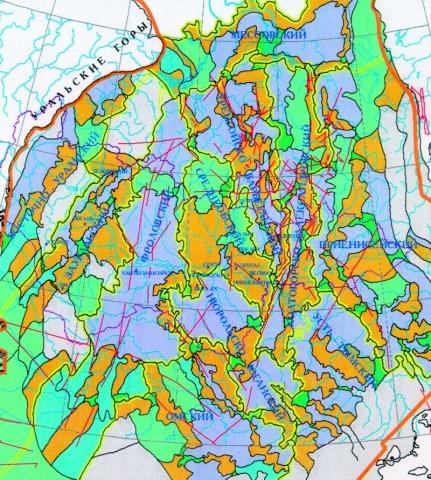 Рис.1. Тектоническая карта центральной части Западно-Сибирской плиты