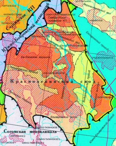 Рис.2. Красноленинский свод. Фрагмент тектонической карты.