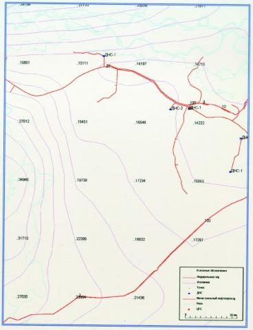 Рис.1. Фрагмент сети расчетных точек на территории ХМАО.
