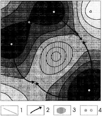 Рис.1. Схема выделения ловушки и площади ее нефтесбора. Условные обозначения: 1- изогипсы кровли коллектора, 2 – сепаратриссы, 3 – площадь ловушки, 4 – точки минимумов и седловин.