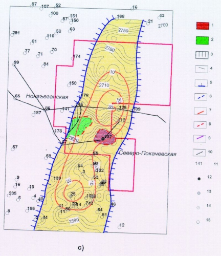 Рис. 3c. Карты строения и нефтеносности пластов: а)- Ач (БВ6); b) – Ач (БВ71); c) – Ач (БВ72) Мишаевского участка. М –б 1:400 000.