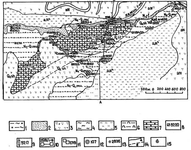 """Рис.2. Схематическая геологическая карта участка """"А"""" Ляминской дислокации."""