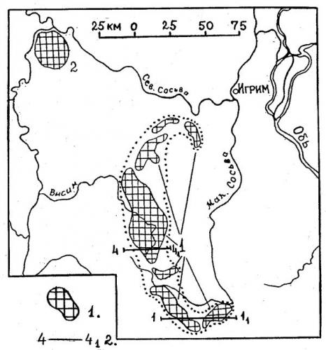 Рис.5. Схематическая карта местоположения Малососьвинских (1) и Люлин-Ворской (2) дислокаций. Пунктиром показана общая площадь распространения Мало-Сосьвинских дислокаций. 1 — участки дислокаций, выраженных в рельефе; 2 — линии геологических разрезов.