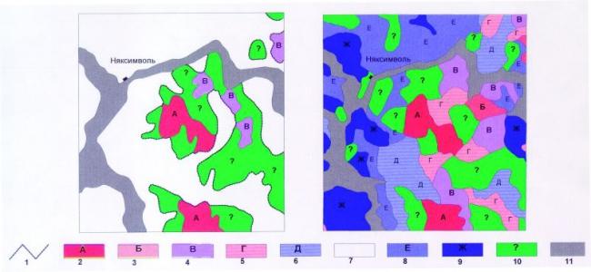 """Рис.2. Участок """"Восточно-Няксимвольский"""". Карты космофотонефтепрогнозной оценки: рекогносцировочной (левая), региональной (правая)."""