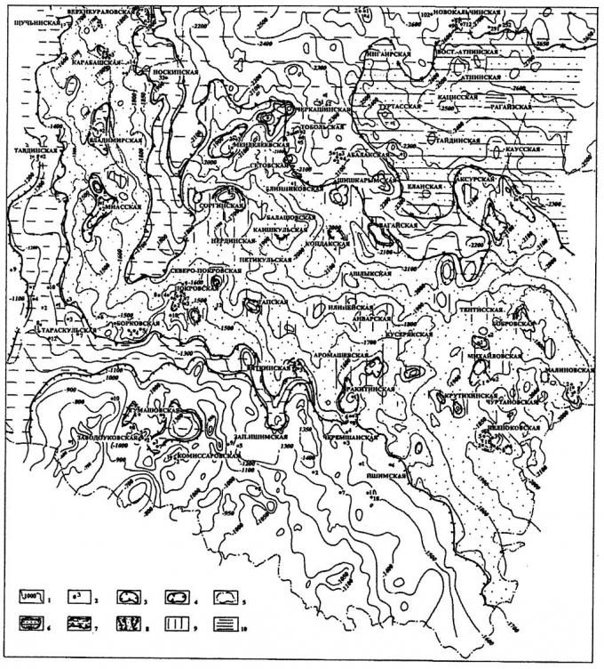 Рис.2. Карта перспектив нефтегазоносности верхнеюрских отложений (вогулкинская толща) южных районов Тюменской области.