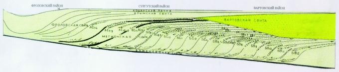 Рис.2. Принципиальная схема строения мелового мегакомплекса (широтное сечение). Составил В.П.Игошкин
