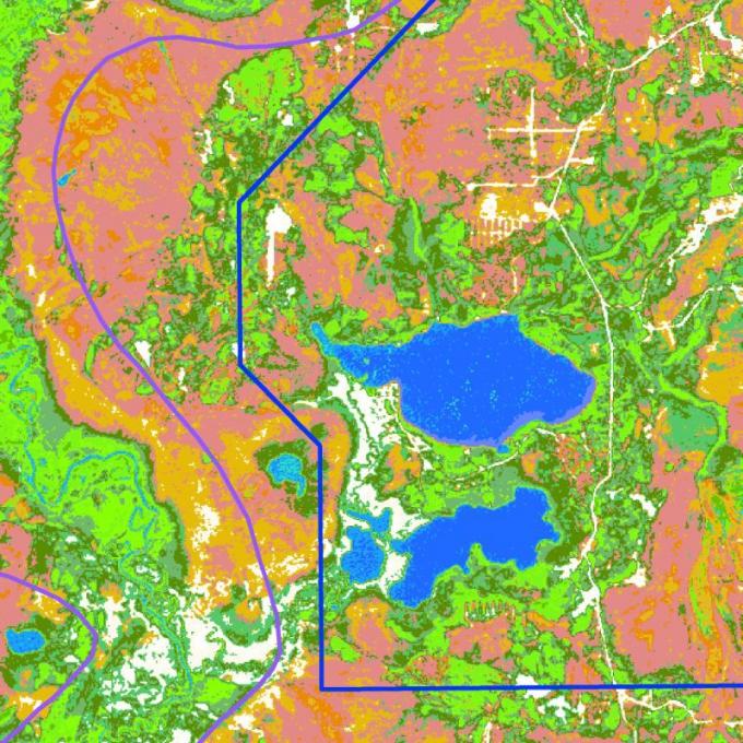Рис.4. Пример тематической карты территории заповедной зоны «Кондинские озера». Использован космический снимок 30-метрового разрешения Landsat, наложены границы лицензионного участка и заповедной зоны.