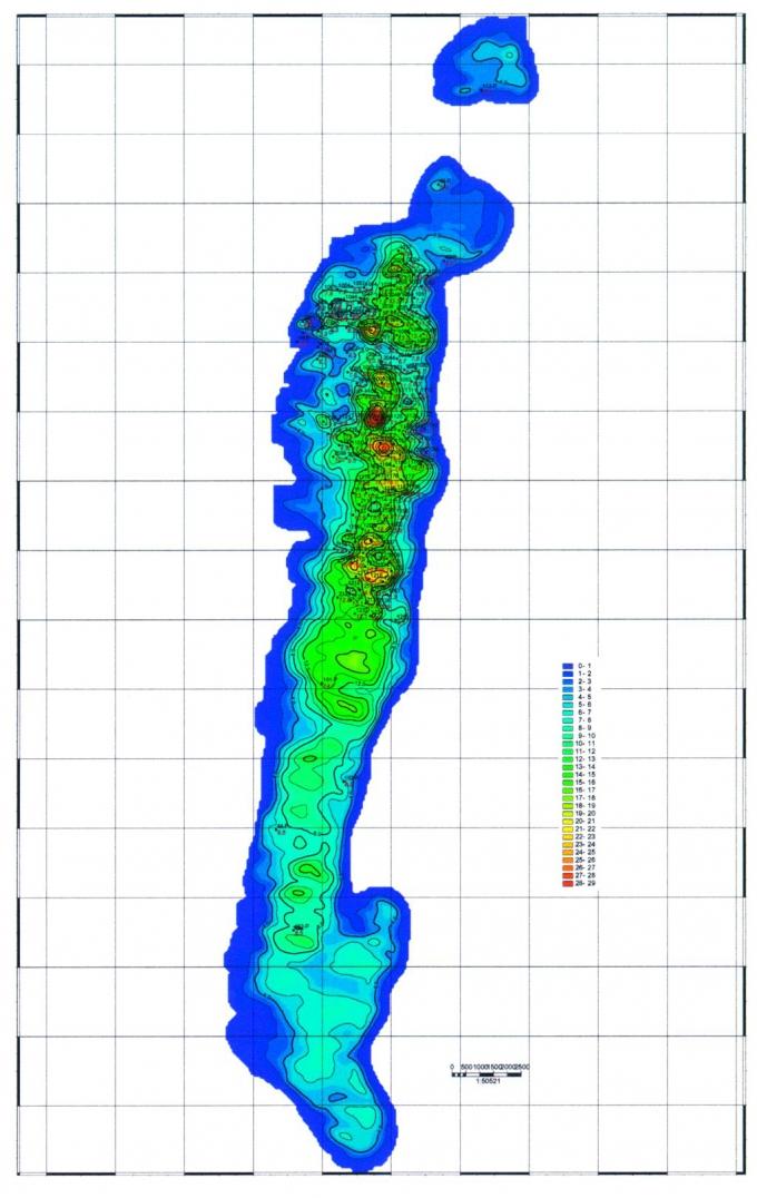 Рис.2. Карта эффективных нефтенасыщенных толщин Когалымского месторождения