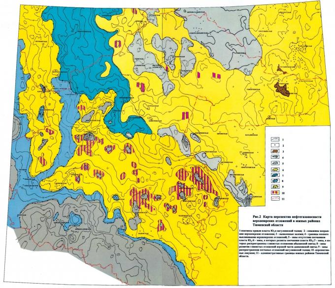 Рис.2. Карта перспектив нефтегазоносности верхнеюрских отложений в южных районах Тюменской области.