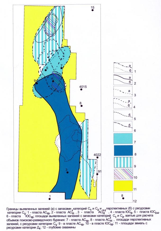 Рис.3. Западно-Ай-Пимский лицензионный участок. Залежи нефти и площади, взятые для расчета объемов геологоразведочных работ