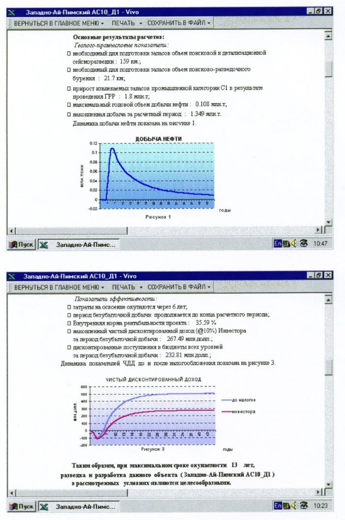 Рис.4. Вид экрана с фрагментами экспресс-отчета