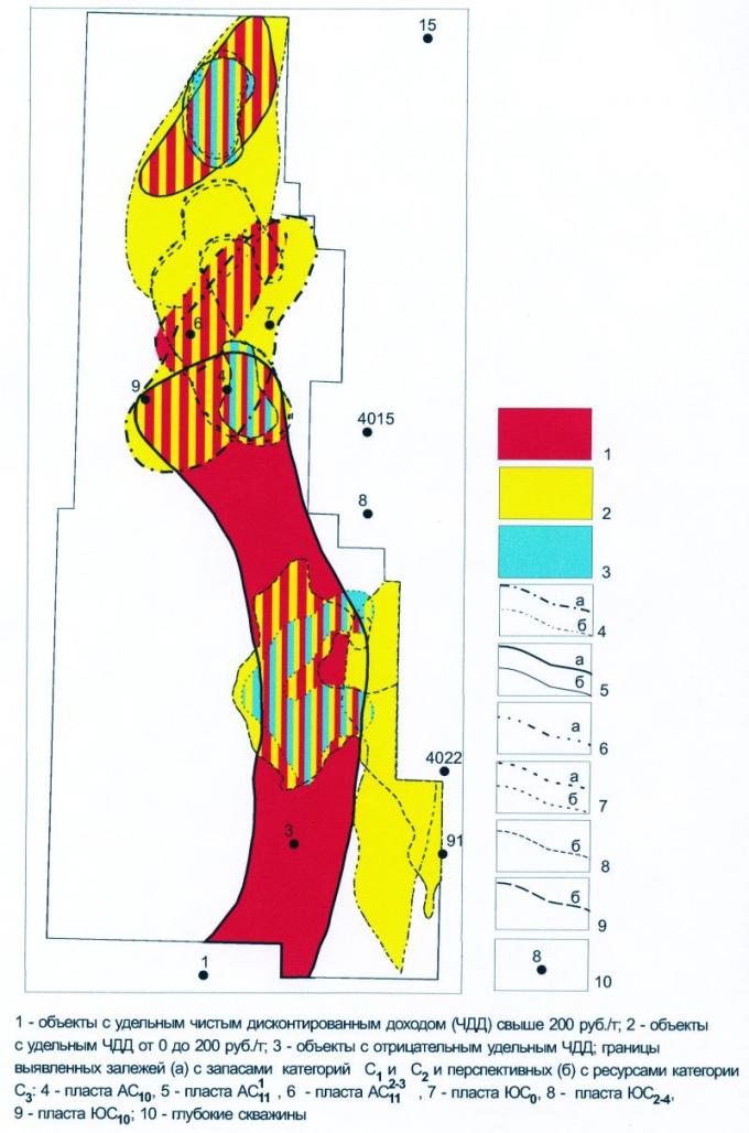 Рис.8. Западно-Ай-Пимский лицензионный участок. Карта удельных стоимостей запасов и перспективных ресурсов нефти