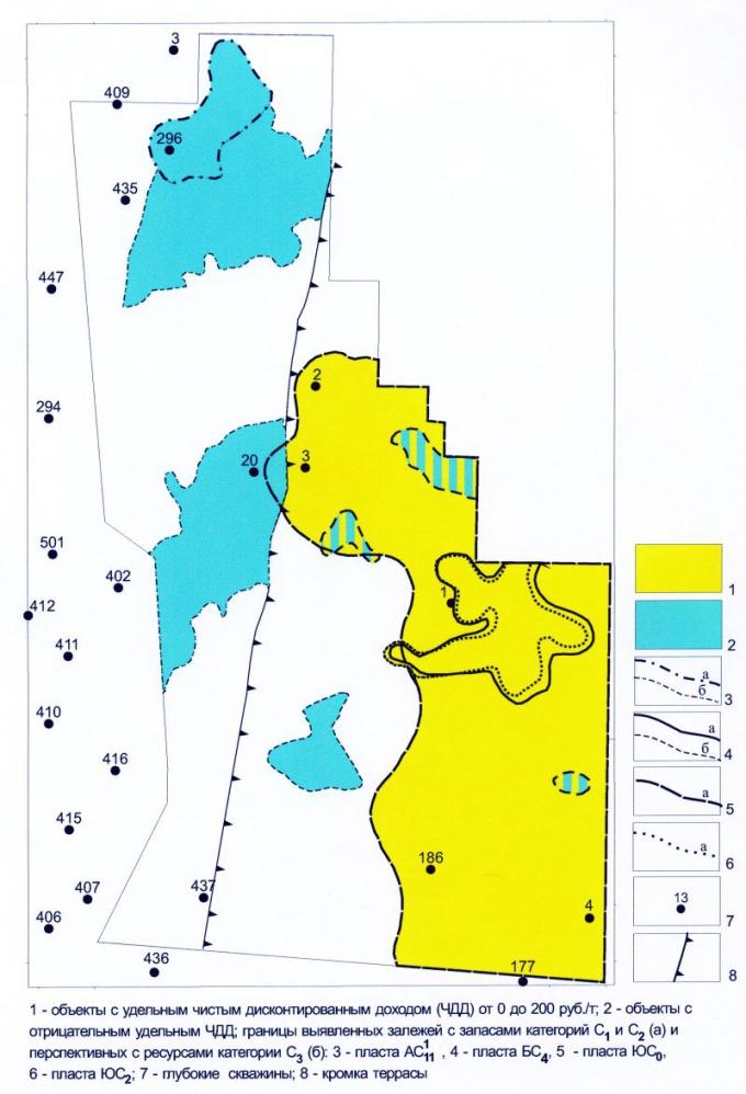 Рис.14. Сахалинский лицензионный участок. Карта удельных стоимостей запасов и перспективных ресурсов нефти