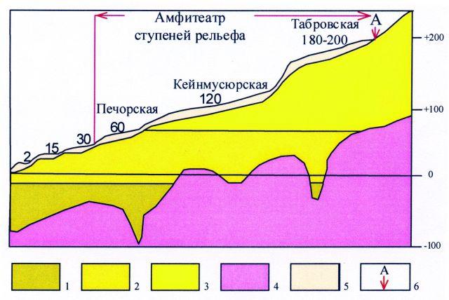 Рис.4. Геолого-геоморфологическая схема строения рельефа Печорской низменности