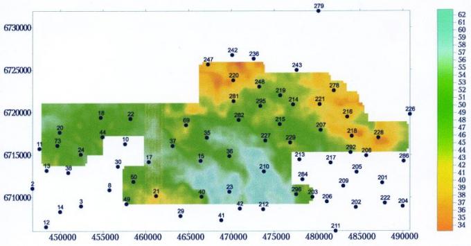 Рис.1а. Карта изохрон сейсмостратиграфического интервала васюганской свиты (DТТЮ2-ТЮ1)