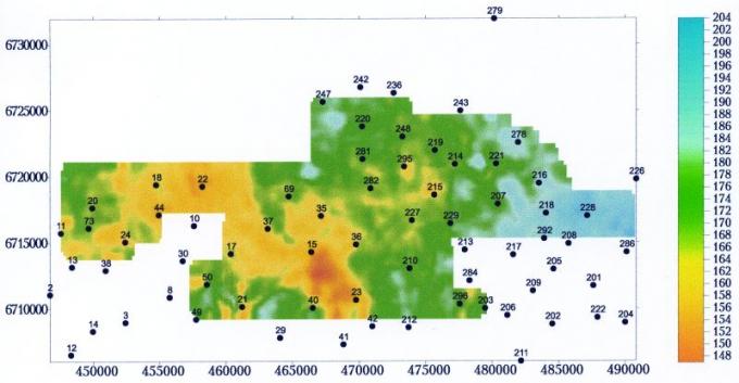 Рис.1б. Карта изохрон сейсмостратиграфического интервала тюменской свиты (DТРАД-ТЮ2)