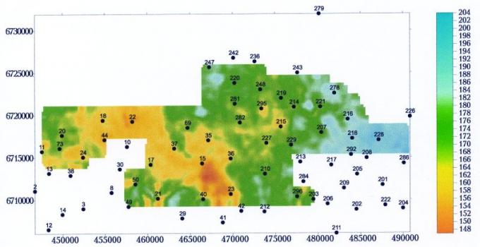 Рис.3б. Карта изохрон сейсмостратиграфического интервала тюменской свиты (DТРАД-ТЮ2)