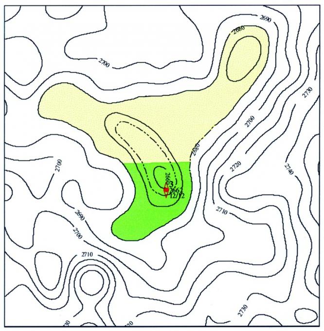 Рис.2. План подсчета запасов нефти по пласту ЮК2-3. Восточно-Янлотское месторождение.