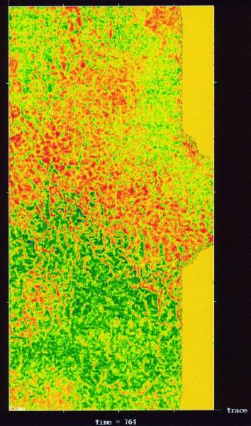 Рис.2. Внутреннее строение нижнеберезовской подсвиты Кальчинского месторождения на уровне временного среза 420 мск (по материалам сейсморазведки 3D)