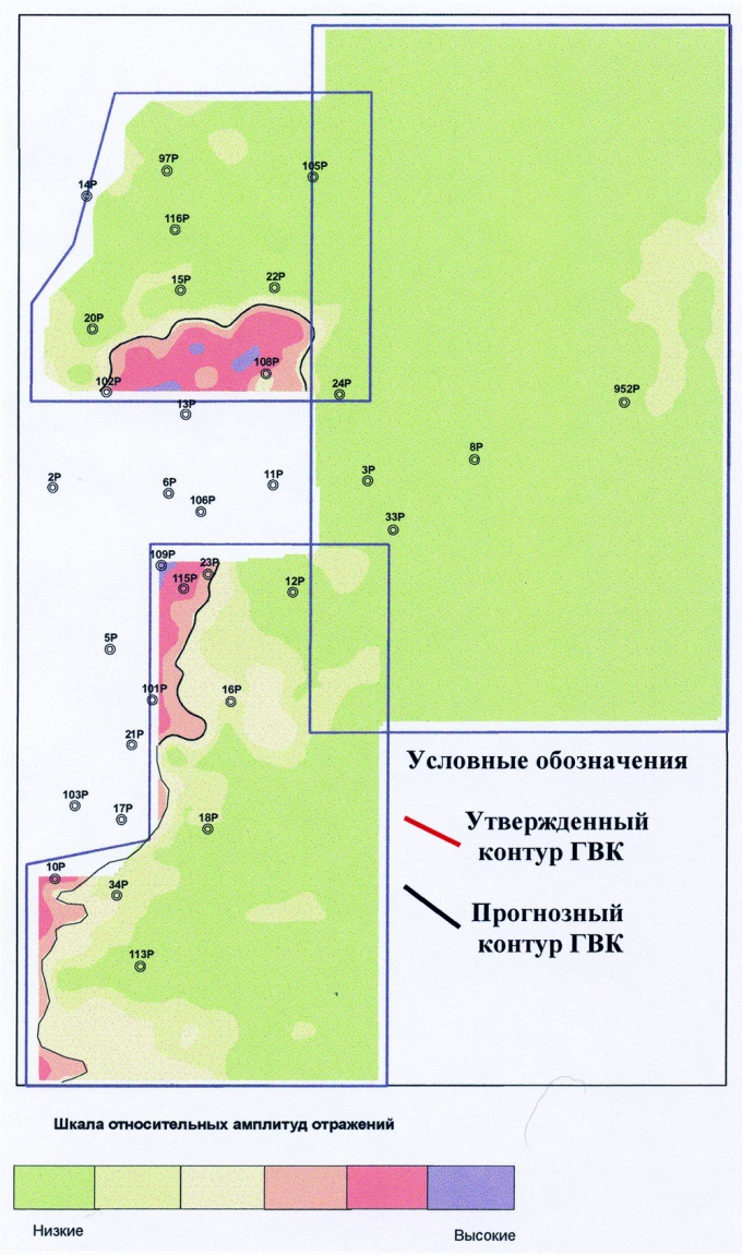 Рис.5. Отображение предполагаемого контура газоносности залежи нижнеберезовской подсвиты в амплитудах сейсмической записи на уровне отражающего горизонта «С» по Варьеганскому месторождению