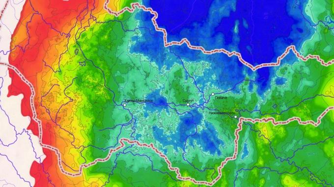 Рис.1. Структурная карта по поверхности доюрского основания осадочного чехла