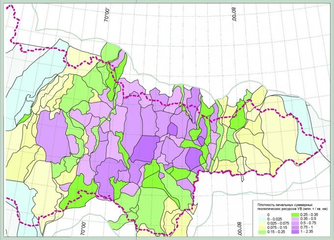 Рис.1. Распределение плотности начальных суммарных геологических ресурсов УВ в пределах ХМАО