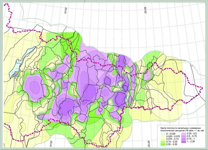 Рис.2. Непрерывная модель плотности начальных суммарных геологических ресурсов УВ в пределах ХМАО