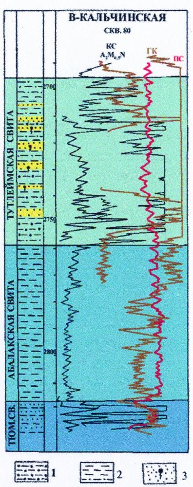 Рис.5. Электрокаротажная характеристика разреза верхней юры 1 — глины битуминозные; 2 — глины небитуминозные, с алевритистой примесью; 3 — песчаники нефтенасыщенные