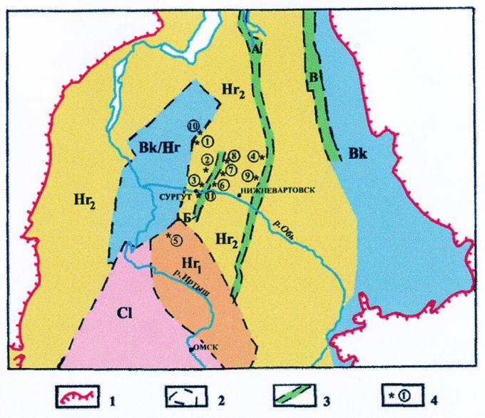 Рис.6. Схема расположения скважин с аномальным строением разрезов баженовской свиты. 1 — внешние контуры Западно-Сибирской плиты; 2 — границы областей разновозрастной консолидации палеозойского фундамента (по В.С.Суркову): Bk/Hr — байкалиды, переработанные герцинидами; Cl — каледониды; Hr1 — ранние герциниды; Hr2 — поздние герциниды; 3 — грабены (А — Уренгойско-Колтогорский, Б — Ярсомовский, В — Худосейский); 4 — скважины с нарушенной баженовской свитой (1 — Северо-Конитлорская, 2 — Федоровская, 3 — Восточно-Сургутская, 4 — Тагринская, 5 — Восточно-Кальчинская, 6 — Урьевская, 7 — Нонг-Еганская, 8 — Средневатьеганская, 9 — Новомолодежная, 10 — Мурьяунская, 11 — Асомкинская).