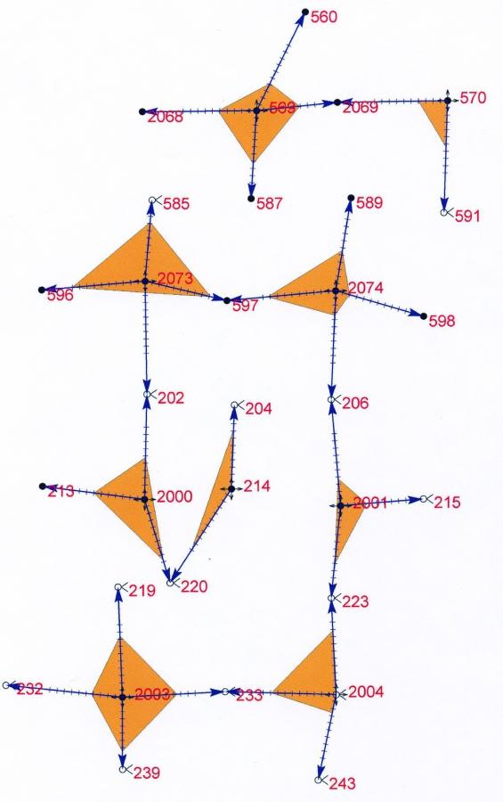 Рис.4. Схема размещения скважин для определения коэффициента охвата пласта ЮВ1