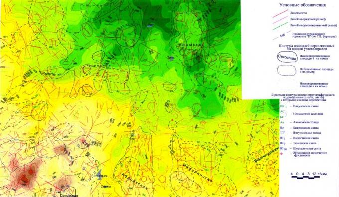 Рис.2. Структурно-геоморфологическая карта, совмещенная с картой размещения площадей, перспективных на поиски углеводородов
