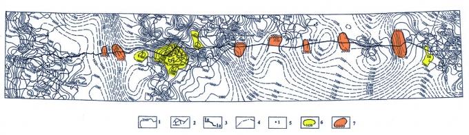 """Рис.3. Структурная карта по отражающему горизонту """"Б"""" (верхняя юра) вдоль линии сейсмического профиля 1а"""