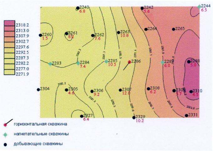 Рис.1. Участок пласта БП111 Вынгаяхинского месторождения(окружение скв. 2286)