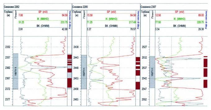 Рис.5. Геологический профиль по скв.2262, 2285, 2307