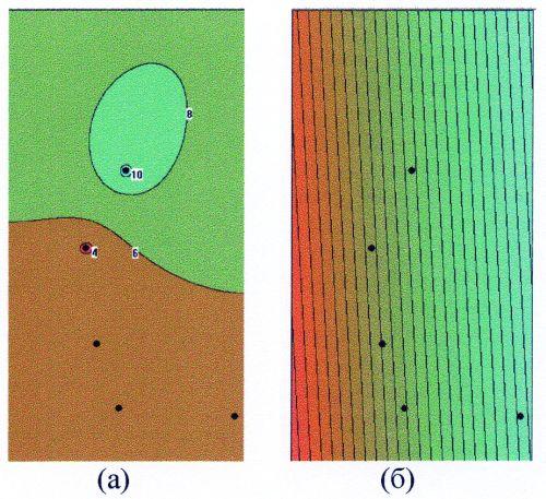 Рис.1. Пример построения карт с разными стабилизаторами: а) минимум площади поверхности, б) минимум кривизны.