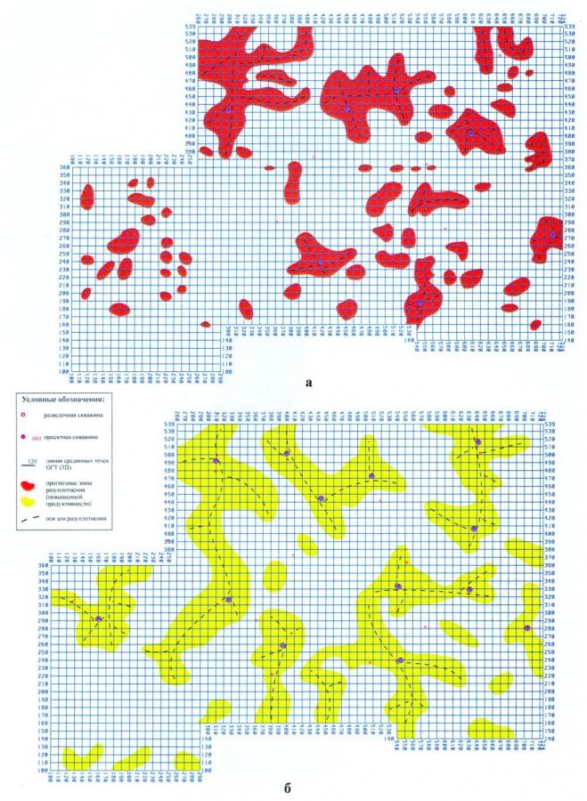 Рис.5. Структурно-прогнозные схемы размещения зон повышенной продуктивности, выделенные по данным сейсморазведки и тектонофизического моделирования, в пластах АВ13 (а) и БВ10 (б) участка сейсморазведочных работ 3D Восточно-Урьевской площади