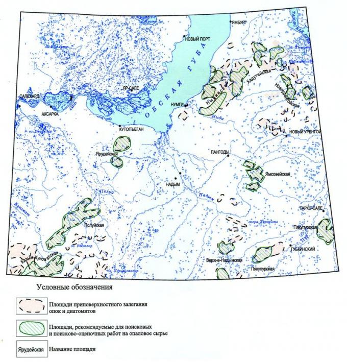 Рис.2. Схема прогноза ресурсов опалового сырья территории ЯНАО