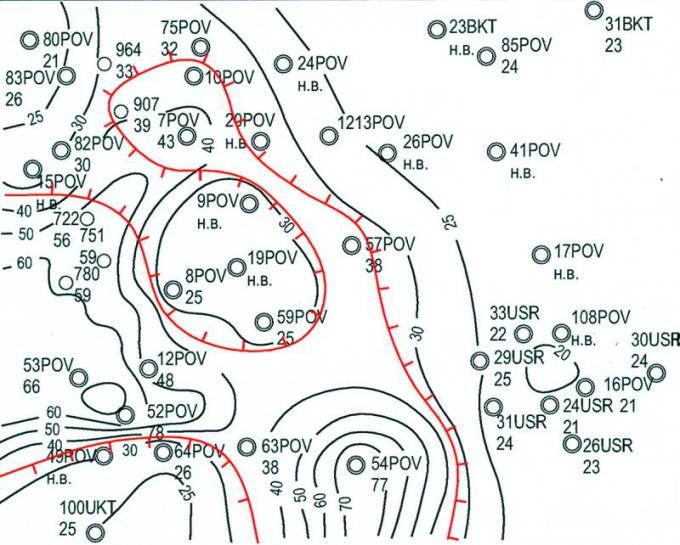Рис.3. Карта толщин баженовских отложений в южной части Повховской площади