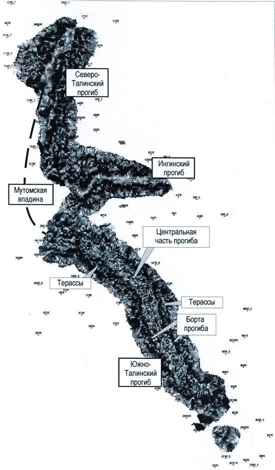 Рис.1. Структурная карта по кровле фундамента
