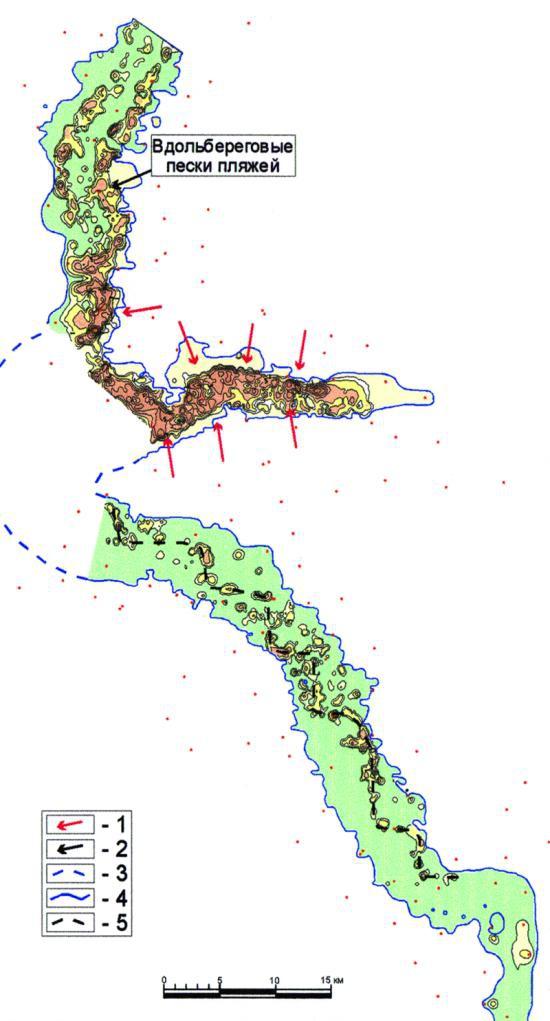 Рис.5. Карта эффективных толщин отложений седиментационного цикла 5 пласта ЮК10
