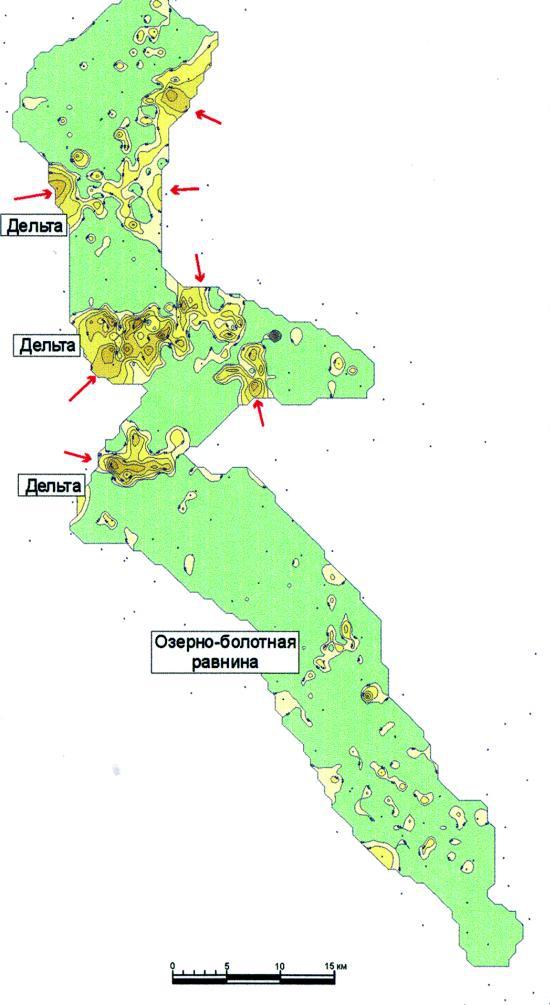 Рис.8. Карта эффективных толщин отложений седиментационного цикла 4 пласта ЮК8-9