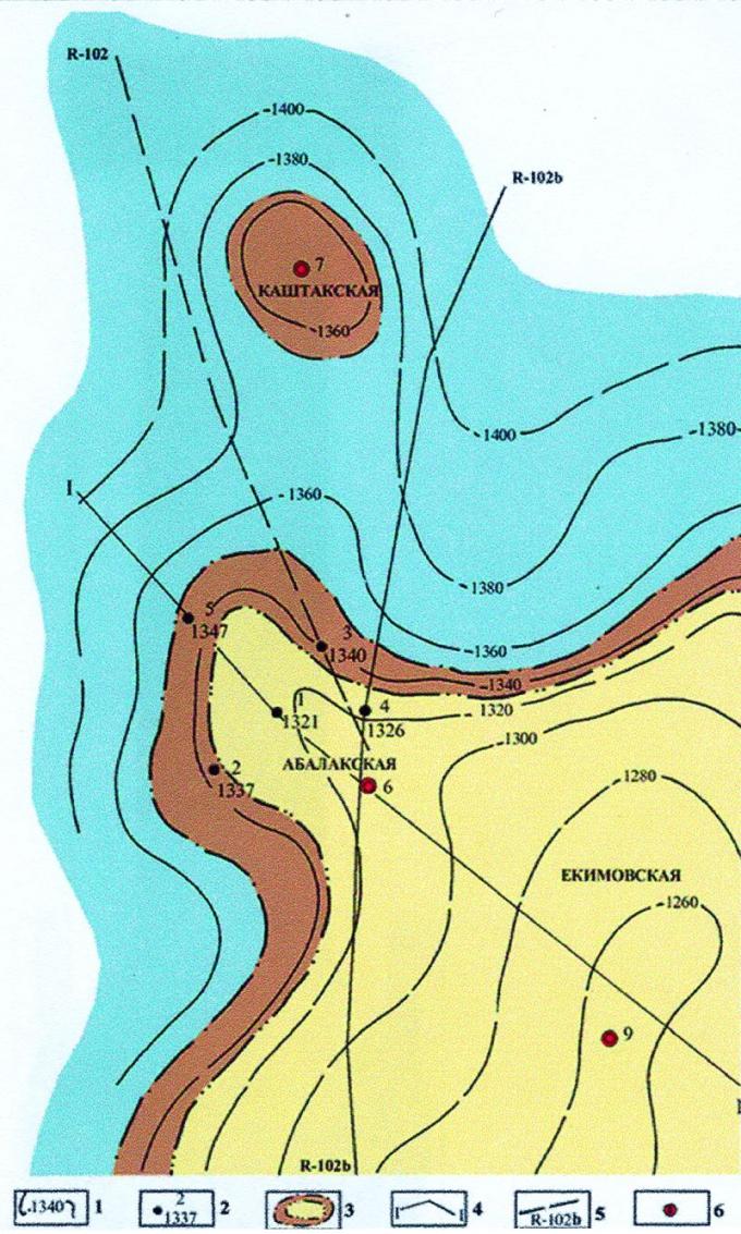 Рис.3. Карта перспектив нефтегазоносности пластов ВК1-3 Абалакской площади: 1- изогипсы кровли пласта ВК1-3 ; 2 — скважины, вскрывшие пласт/абсолютные отметки; 3 — контуры предполагаемых залежей; 4 — линия геологического разреза; 5 — региональный сейсмический профиль; 6 — рекомендуемые поисковые скважины.